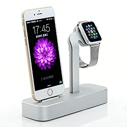 Apple Watch Stand, iPhone 6s Stand, Fogeek [2 in 1 Charging Dock] Apple Watch Charging Stand, Solid Aluminum Charger Dock Station for Apple Watch 38mm/ 42mm, iPhone 6s plus (2015) (Silver)