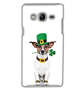 PrintHaat Designer Back Case Cover for Samsung Galaxy Z3 Tizen :: Samsung Z3 Corporate Edition (cute dog :: sweet dog :: dog with neck strap trying to listen from glass :: funny dog moments :: in white, silver and brown)