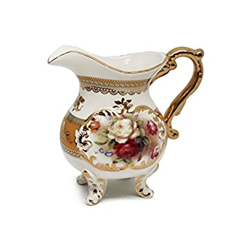 Royal Porcelain 10-Piece Vintage Rose-Decorated Dining Tea Cup Set, Service for 6, Handmade & Hand-Painted, 24K Gold-Plated Bone China Tableware