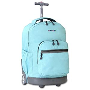 J World New York Sunrise Rolling Backpack (Seafoam)