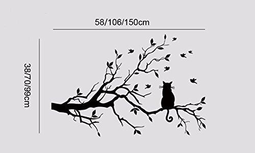 Suk@Cat On Tree Branch Birds Vinyl Wall Sticker Wall Art Decorative Stickers,Glass Window Sticker Kitchen Wall Stickers Home Decor Botanical Contemporary Rug