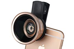 Leeko Universal Mobile Phone HD 2 in 1 Camera Lens Kit,0.6X Super Wide Angle Lens + 15X Macro Lens,Clip-On Cell Phone Lens for iPhone,Samsung, Android Smartphones (Gold)