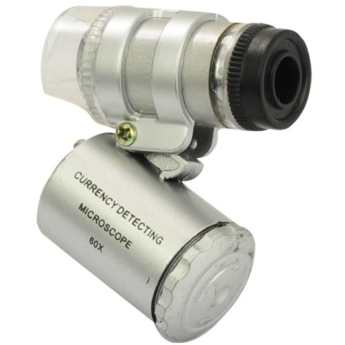 Siam Circus 60X Mini Pocket Microscope Loupe 2 Led Lighted Magnifier + 1 Currency Detecting