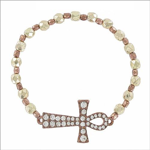 JOA Egyptian Cross W Bead Stretch Bracelet #041460