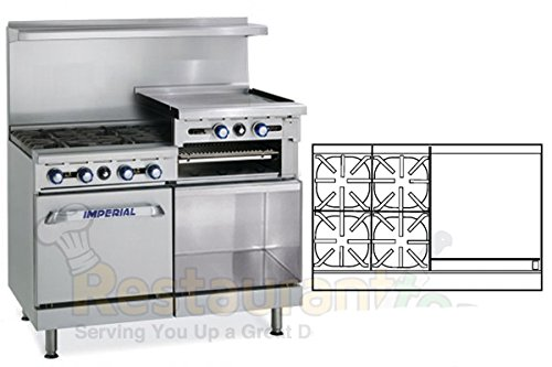 Imperial-Commercial-Restaurant-Range-48-4Burner-24-Raised-Griddle-OvenCab-Nat-Gas-Ir-4-Rg24-C-Xb