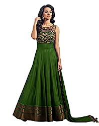High Quality Best Amazone Dress Material Anarkali Type Women's Gown of Pure Georgette from spangel fashion (Green Color_Free Size)