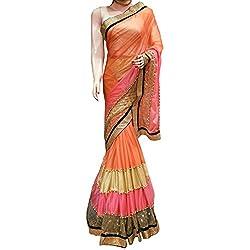 orange and pink Designer lycra With Embroidered lehenga Saree.