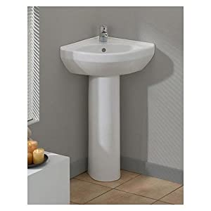 Corner Sink Pedestal : ... Corner Pedestal Sink 944W White - Corner Bathroom Sinks - Amazon.com