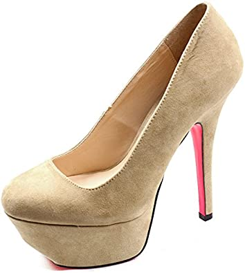 Women's Qupid Black Platform High Heel Pumps Fashion Shoes Psyche-01 (7, Taupe)