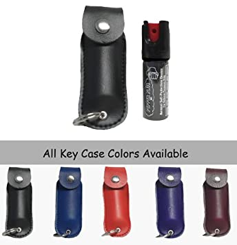 #!Cheap Police Magnum OC-17 Keychain Mace Pepper Spray - 1/2 Ounce Leather Case