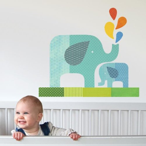 Petit Collage Fabric Wall Decal, Blue Elephant Baby (Discontinued by Manufacturer)
