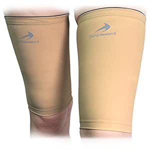 Thigh Compression Sleeves (1 Pair - Nude S) Men, Women & Youth Hamstring Pain/ Quad Support & Recovery - Reduce Groin Strains & Cramps - Snug & Warm For Tennis, Soccer, Basketball Sports