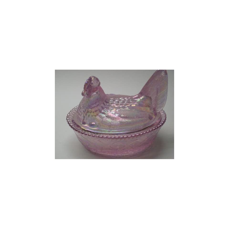 5 Clear Pink Carnival Glass Hen on Nest Wooven Base