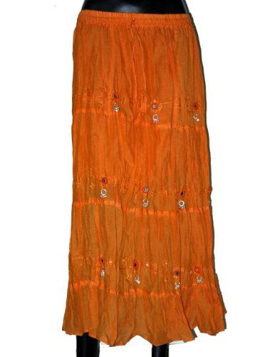 Womens Bohemain Style Fashion Skirt in Tangelo Orange with Sequin Bell Cotton 32