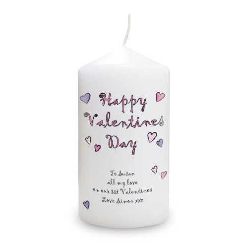 Happy Valentine's Day Candle. This is a great product that can be personalised to your requirements ( please see main discription for full details ) Ideal gifts and presents for weddings, Christenings, Birthdays, Christmas etc...