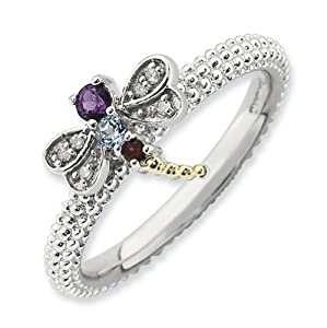 IceCarats Designer Jewelry Size 8 Sterling Silver 14K Stackable Expressions Gemstone Diamond Dragonfly Ri.