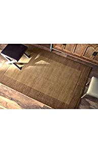 nuLOOM SBBD01-76096 Borders Collection 100-Percent Wool Area Rug, 7-Feet 6-Inch by 9-Feet 6-Inch, Border, Chocolate