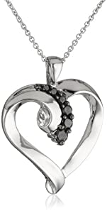 Sterling Silver Black Diamond Heart Pendant Necklace (1/4 Cttw, I-J Color, I2-I3 Clarity), 18