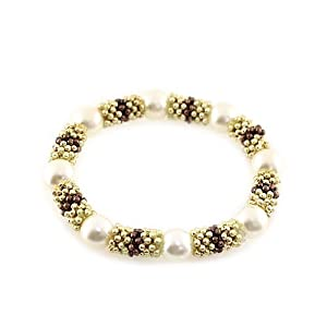 Pearl Station Stretch Bracelet; Gold And Bronze Metal; Cream Pearls; Stretch;