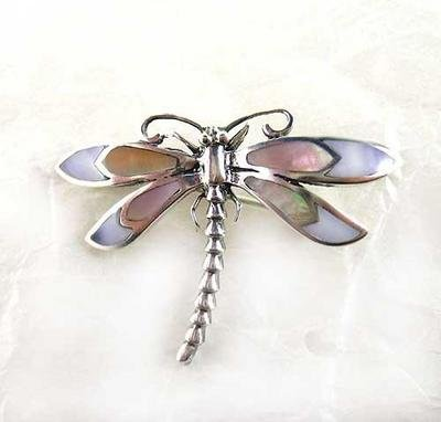 Sterling Silver Shell Inlay Dragonfly Brooch
