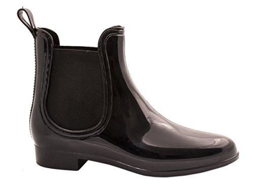 Elara-Damen-Gummistiefel-Bequeme-Lack-Stiefeletten-Chelsea-Boots-Farbe-Schwarz-Gre-39
