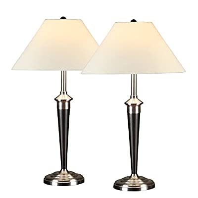Artiva USA Twin-pack, Classic Cordinates Table Lamps, Quality Brushed Steel and Espresso Finish