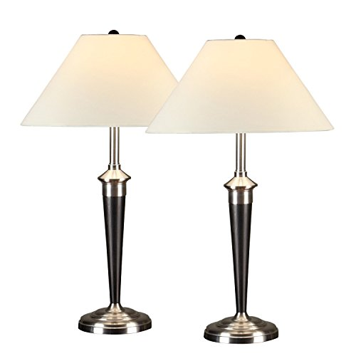 Artiva USA Twin-pack, Classic Cordinates Table Lamps, Quality Brushed Steel and Espresso Finish (Classic Lamp compare prices)