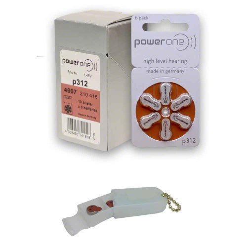 PowerOne Hearing Aid Batteries Size 312, PR41 (60 Batteries) + 2 Cell Battery Keychain Kit (Power One 312 Batteries compare prices)