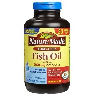 Fish oil burp less value size 200 liquid softgels 1200 mg for Daily recommended fish oil