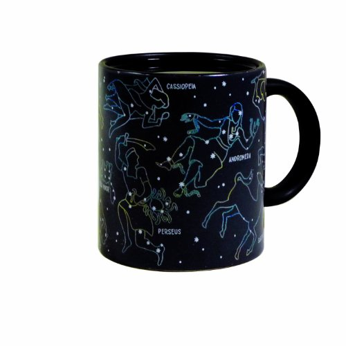 AuroTrends Constellation Mug - Heat Sensitive Color Changing Coffee Cup - Constellations Magically Appear Thermal Reaction Ceramic Cup for Tea or Coffee (Black)