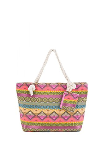 ColorMC Women's Chevron Printed Large Beach Tote Shoulder Bag