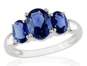 Sterling Silver Created Sapphire 3 Stone Ring