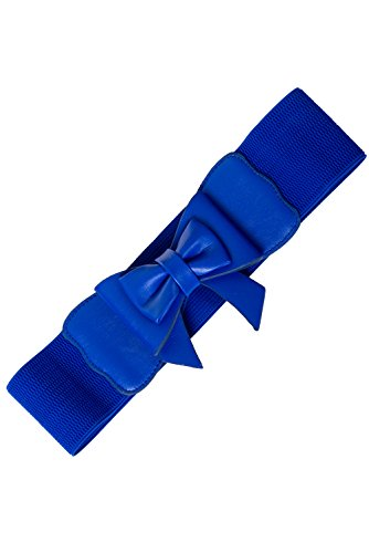 Banned Vintage Pin-up Retro Bow Accent Elastic Wide Stretch Waist Belt (M, Royal Blue)