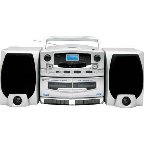 Supersonic Portable MP3/CD Player Double Cassette Recorder and AM/FM Radio with USB Input SC-2020U