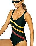 La Isla Women's Striped Print Slimming One Piece Swimsuit Swimwear