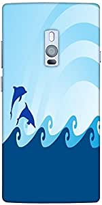 Snoogg sea wave and dolphin on blue background Hard Back Case Cover Shield For Oneplus Two