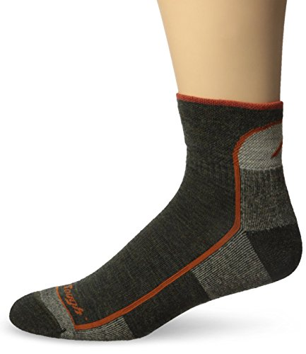 Darn Tough Vermont Men's 1/4 Merino Wool Cushion Hiking Socks, Olive, Large