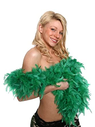 12 X FEATHER BOA 80G THICK HEN NIGHT ACCESSORY FANCY DRESS FLAPPER BOAS MANY COLOURS 1920'S BURLESQUE FEATHERS (GREEN)
