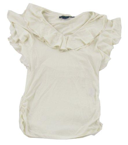 Ralph Lauren Sport Women'S Ruffle Shirt (Medium, Chic Cream)