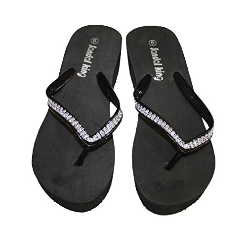Womens Sandal Platforms Color Wedges Clear Rhinestone Straps Style Thongs New Black_9