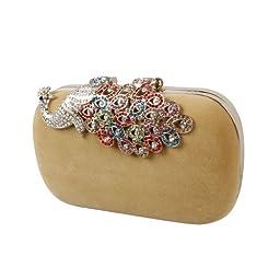 BMC Womens Elegant Rhinestone Peacock Clasp Velvet Cocktail Evening Handbag-TAN