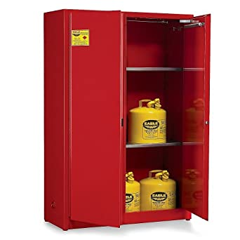"Eagle Double-Wall Flammable Liquids Safety Cabinet - 43X18x44"" - 30-Gallon Capacity - Self-Closing Doors - Red - Red"