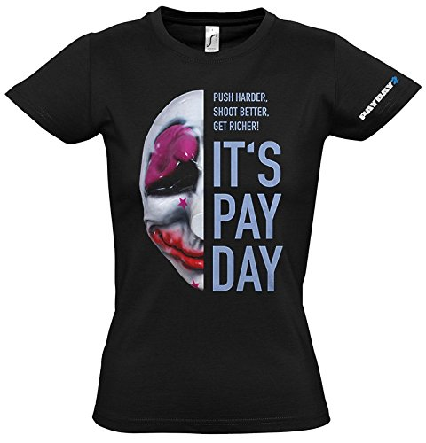 payday-2-de-la-mujer-houston-mascara-t-shirt-medio-negro