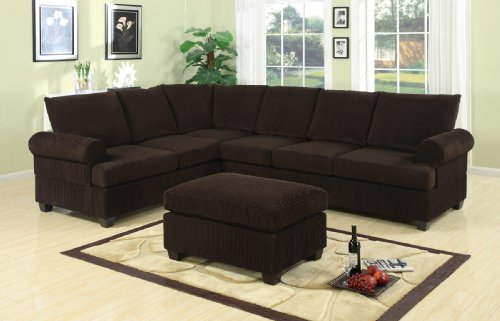 For Bobkona Miranda 3 Piece Reversible Sectional With Ottoman Sofa Set Chocolate Best Price
