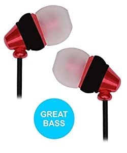 Metallic Finished Ear Buds Earphones Headset with Mic Compatible For HTC One M7 -Red