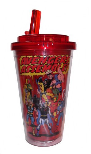 Marvel Comics Avengers Assemble 16Oz Insulated Flip Straw Tumbler