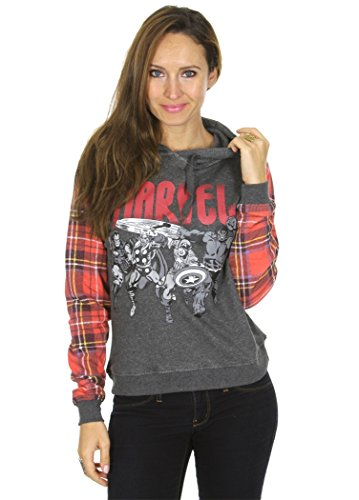 Marvel Comics Avengers Plaid Sleeves Women's Juniors Pullover Hoodie (Large) (Marvel Womens Clothes compare prices)