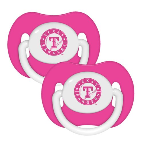 Mlb Texas Rangers Pacifiers (Pack Of 2), Pink front-962876
