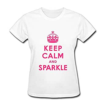 Amazon.com: MKSD Keep Calm Sparkle Women White T-shirts ...