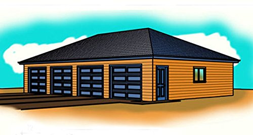 1 story garage plans four car hip roof 50 39 x 30 for Hip roof garage plans